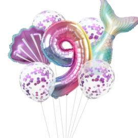 Zeemeermin ballonnenset 9 jaar