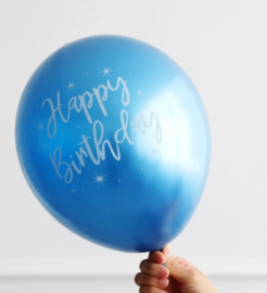 Ballon Happy Birthday Blauw, 5 stuks