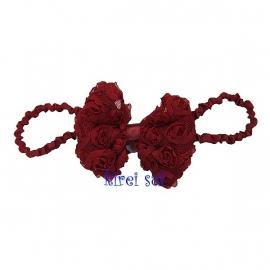 Haarband strik roosjes wijnrood