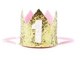 Haarband kroon goud glitter 1 jaar