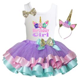 Unicorn verjaardagkleding, satijn, zonder/lange mouw, Birthday Girl, eenhoorn diadeem  (3-delig)