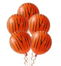 Ballon tijgerpoot strepen, 5 stuks