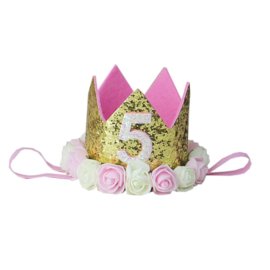 Haarband kroon goud roosjes 5 jaar