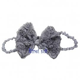 Haarband strik roosjes zilvergrijs