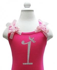 Top 1 jaar glitter pink