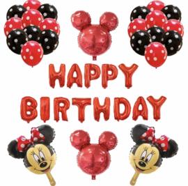 Minnie Mouse ballon set ROOD HAPPY BIRTHDAY (32-delig)