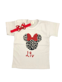 Minnie Mouse shirt luipaard rood + NAAM, (2-delig)