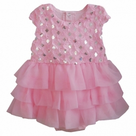 Babyjurk roze glittertjes (mt. 74)
