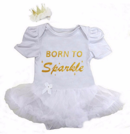 Babyjurk Born To Sparkle lang/korte mouw wit + haarclip kroon
