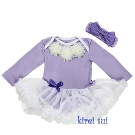 Babyjurk lavendel rozetten lang/korte mouw + haarband