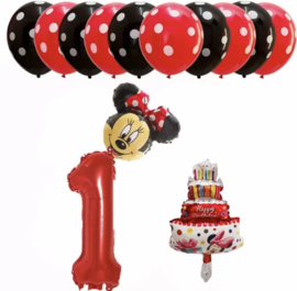 Minnie Mouse ballon set ROOD 1  (13-delig)
