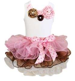 Tutu Satijn set bloemen roze/chocolade