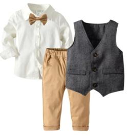 Jongens outfit met gilet en strik (4-delig)
