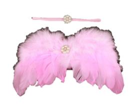 Newborn engelen vleugels roze parel + haarband