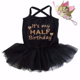 It's my HALF Birthday tutu zwart + kroon