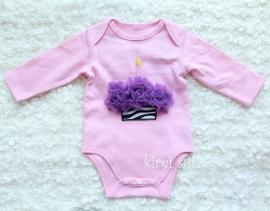 Baby romper roze Cupcake zebra paars lange mouw