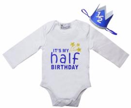 It's My Half Birthday lang/korte mouw cobalt blauw + haarkroon