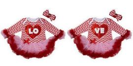 Tweeling jurken zigzag LOVE longsleeve  + haarbanden