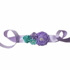 Luxe riem handgemaakt aqua-lavendel