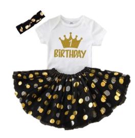 Birthday 1 met kroon verjaardag set (3-delig)