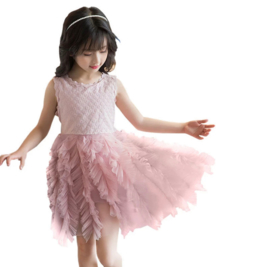 Romantische jurk dusty pink tule rouches