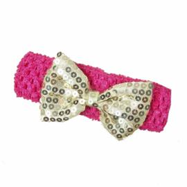 Haarband pink goud strik glitter