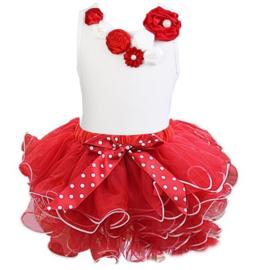 Tutu Satijn set bloemen rood