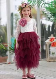Lange romantisch jurk kant, lange mouw robijnrood
