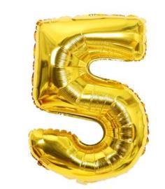 Folie Ballon cijfer 5 - goud