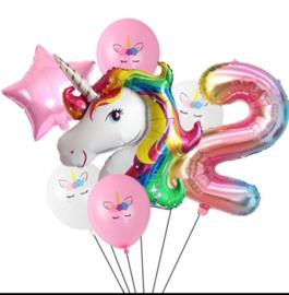 Folie ballonnen Unicorn 2 jaar (7-delig)