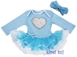 Babyjurk hart blauw lang/korte mouw + haarband