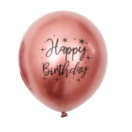 Ballon Happy Birthday rose gold, 5 stuks