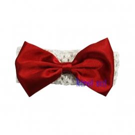 Haarband Wit strik rood