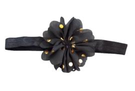 Haarband bloem , zwart met goud