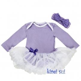 Babyjurk lavedel lang/korte mouw + haarband