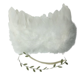 Newborn engelen vleugels wit + groene blaadjes haarband