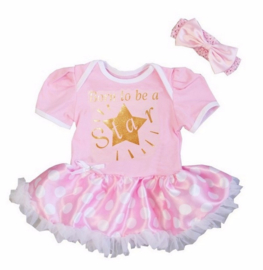 Babyjurk Born to be a Star licht roze stippen + haarband