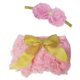 Luierbroekje kant roze/goud + haarband