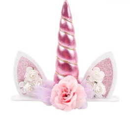 Unicorn taarttopper roze