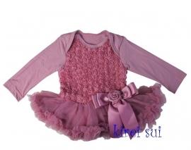 Babyjurk met roosjes vintage paars lange/zonder mouw