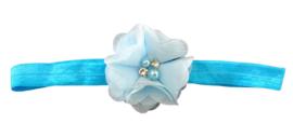 Haarband bloem klein, blauw