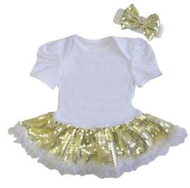 Babyjurk goud glitter + haarband