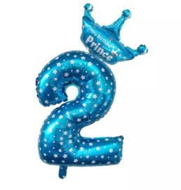 Folie Ballon Prince met kroon + cijfer 2