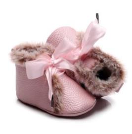 Babyschoen roze met bont