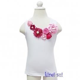 Top roze/pink satijnen roosjes