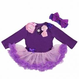 Babyjurk luxe bloemen paars lang/korte mouw + haarband