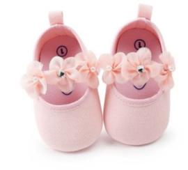 Babyschoen BLOSJESROZE met bloemen en parel