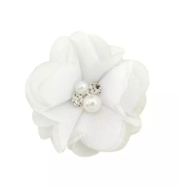 Haarclip bloem wit