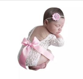 Newborn kanten pakje roze satijn lint + haarband *