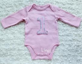 Baby romper roze 1 jaar glitter lange mouw
